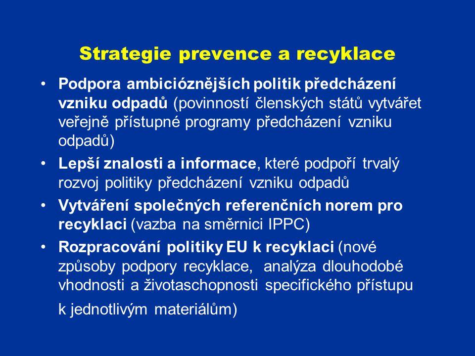 Strategie prevence a recyklace Podpora ambicióznějších politik předcházení vzniku odpadů (povinností členských států vytvářet veřejně přístupné progra