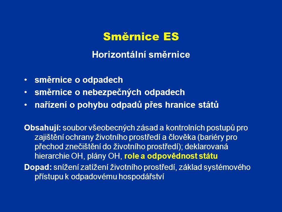 Směrnice ES Horizontální směrnice směrnice o odpadech směrnice o nebezpečných odpadech nařízení o pohybu odpadů přes hranice států Obsahují: soubor vš