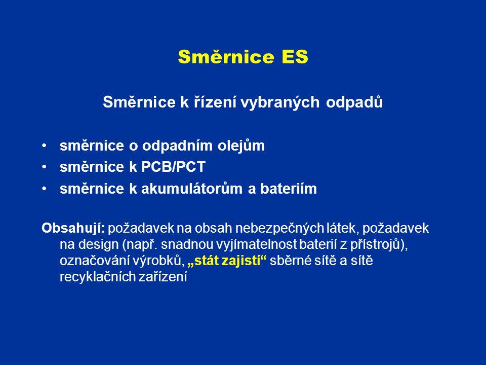 Směrnice ES Směrnice k řízení vybraných odpadů směrnice o odpadním olejům směrnice k PCB/PCT směrnice k akumulátorům a bateriím Obsahují: požadavek na