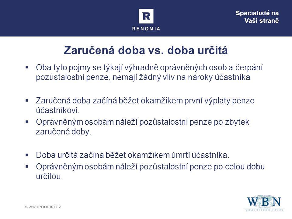 Specialisté na Vaší straně www.renomia.cz Zaručená doba vs.