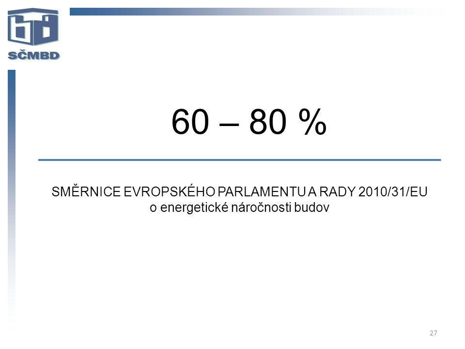 27 60 – 80 % SMĚRNICE EVROPSKÉHO PARLAMENTU A RADY 2010/31/EU o energetické náročnosti budov