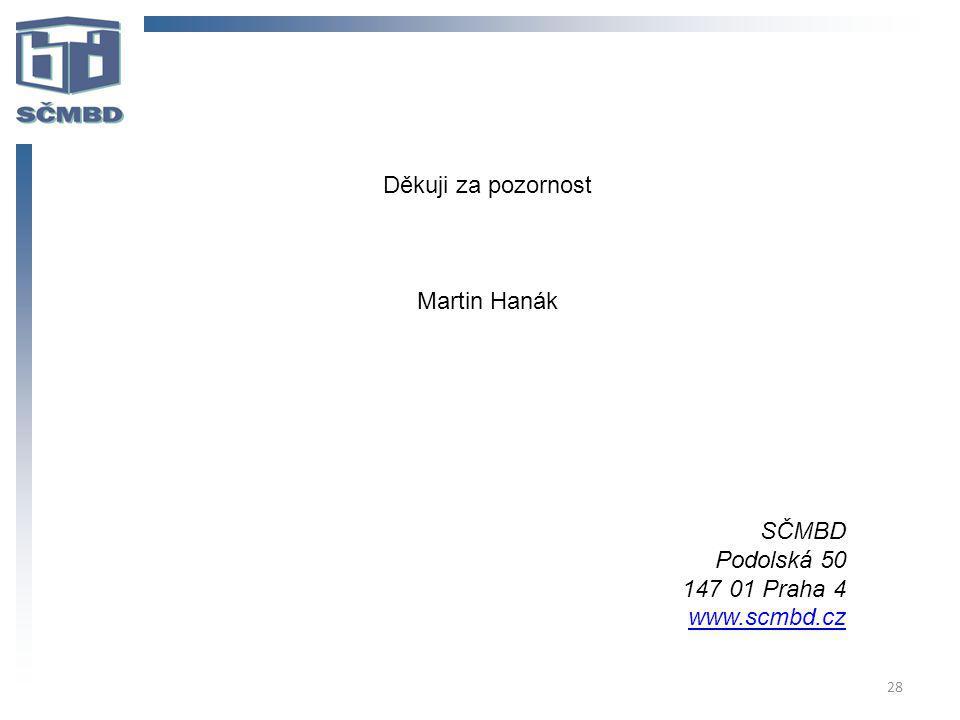 28 Děkuji za pozornost Martin Hanák SČMBD Podolská 50 147 01 Praha 4 www.scmbd.cz