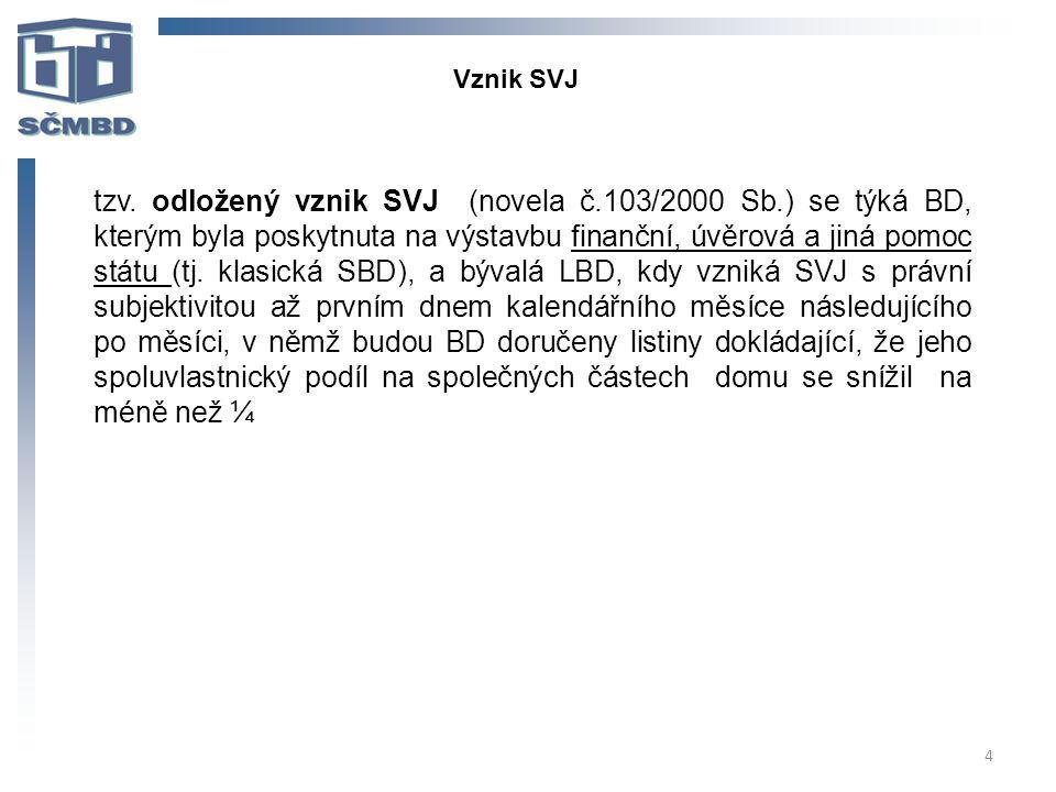 4 tzv. odložený vznik SVJ (novela č.103/2000 Sb.) se týká BD, kterým byla poskytnuta na výstavbu finanční, úvěrová a jiná pomoc státu (tj. klasická SB