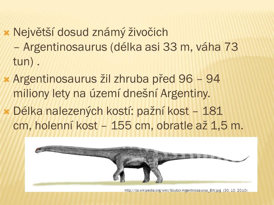  Největší dosud známý živočich – Argentinosaurus (délka asi 33 m, váha 73 tun).