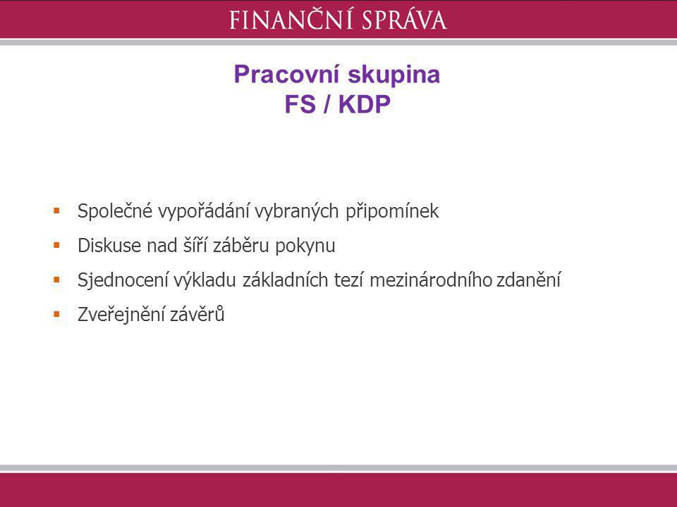 Pracovní skupina FS / KDP  Společné vypořádání vybraných připomínek  Diskuse nad šíří záběru pokynu  Sjednocení výkladu základních tezí mezinárodní