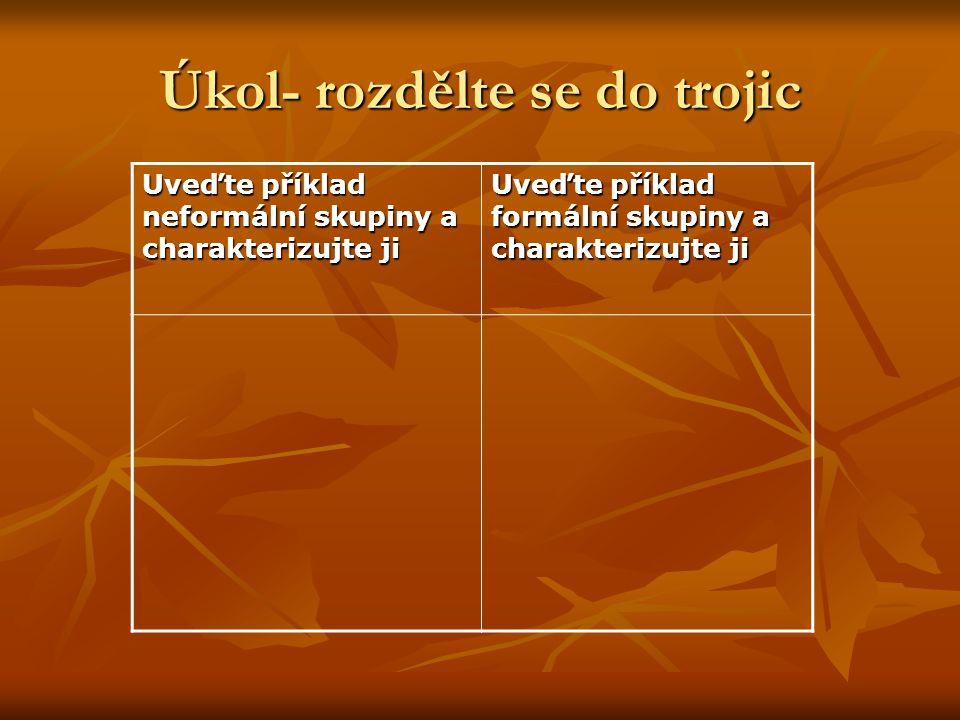 Úkol- rozdělte se do trojic Uveďte příklad neformální skupiny a charakterizujte ji Uveďte příklad formální skupiny a charakterizujte ji