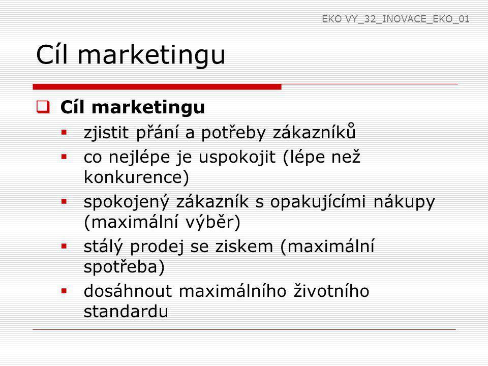 Cíl marketingu  Cíl marketingu  zjistit přání a potřeby zákazníků  co nejlépe je uspokojit (lépe než konkurence)  spokojený zákazník s opakujícími nákupy (maximální výběr)  stálý prodej se ziskem (maximální spotřeba)  dosáhnout maximálního životního standardu EKO VY_32_INOVACE_EKO_01