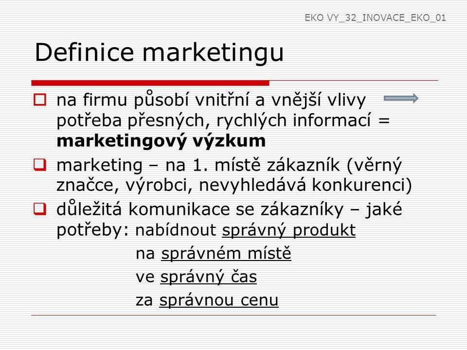 Definice marketingu  na firmu působí vnitřní a vnější vlivy potřeba přesných, rychlých informací = marketingový výzkum  marketing – na 1. místě záka