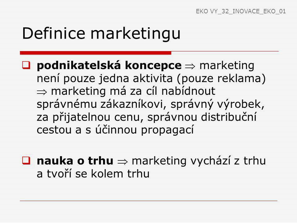 Definice marketingu  podnikatelská koncepce  marketing není pouze jedna aktivita (pouze reklama)  marketing má za cíl nabídnout správnému zákazníkovi, správný výrobek, za přijatelnou cenu, správnou distribuční cestou a s účinnou propagací  nauka o trhu  marketing vychází z trhu a tvoří se kolem trhu EKO VY_32_INOVACE_EKO_01