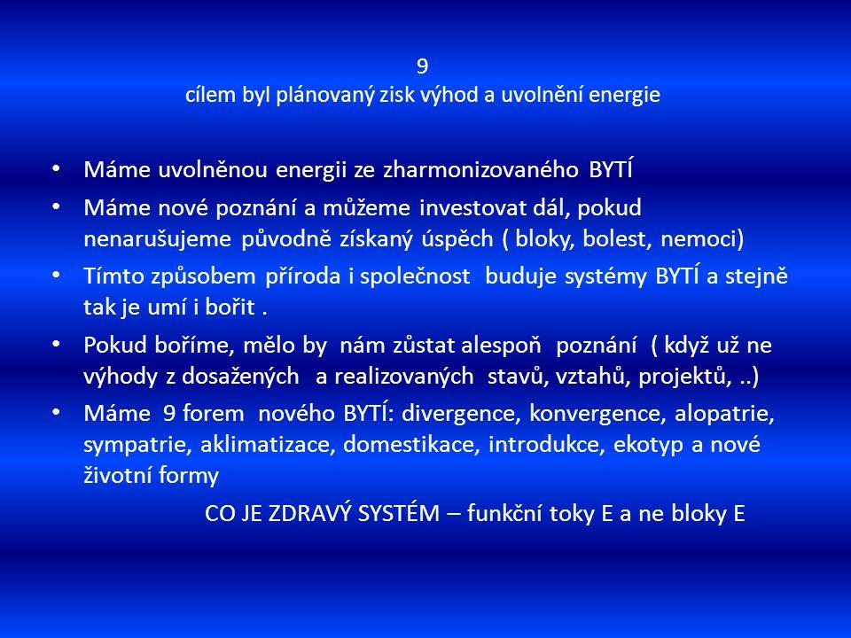 9 cílem byl plánovaný zisk výhod a uvolnění energie Máme uvolněnou energii ze zharmonizovaného BYTÍ Máme nové poznání a můžeme investovat dál, pokud n