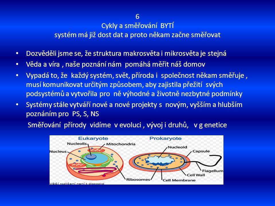 6 Cykly a směřování BYTÍ systém má již dost dat a proto někam začne směřovat Dozvěděli jsme se, že struktura makrosvěta i mikrosvěta je stejná Věda a