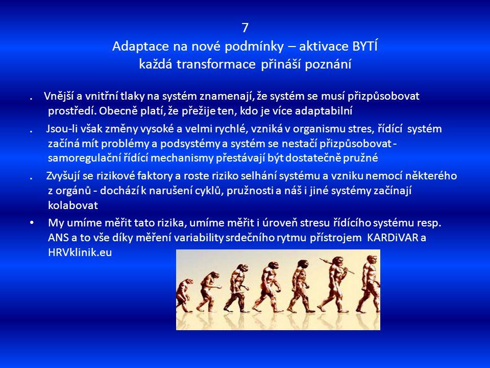7 Adaptace na nové podmínky – aktivace BYTÍ každá transformace přináší poznání. Vnější a vnitřní tlaky na systém znamenají, že systém se musí přizpůso