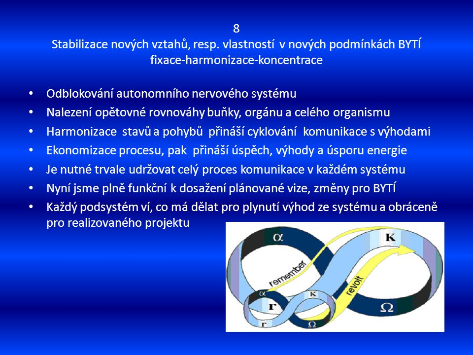8 Stabilizace nových vztahů, resp. vlastností v nových podmínkách BYTÍ fixace-harmonizace-koncentrace Odblokování autonomního nervového systému Naleze