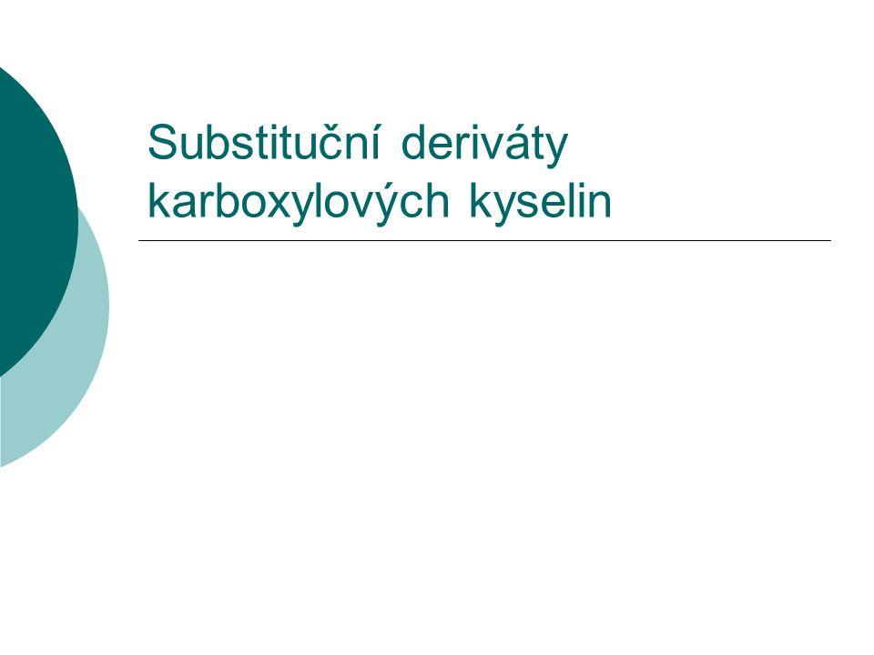 Aminokyseliny  Vznik: náhrada atomu vodíku aminoskupinou – NH 2  Užití zejména triviálního názvosloví  Vznikají z nich peptidy a proteiny Př.