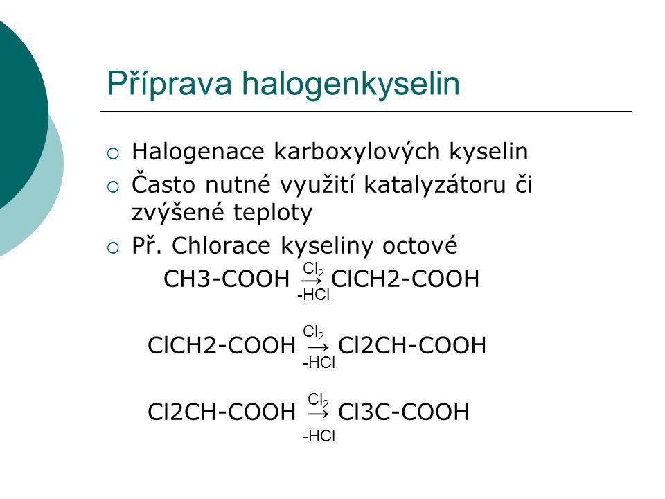 Příprava halogenkyselin  Halogenace karboxylových kyselin  Často nutné využití katalyzátoru či zvýšené teploty  Př. Chlorace kyseliny octové CH3-CO