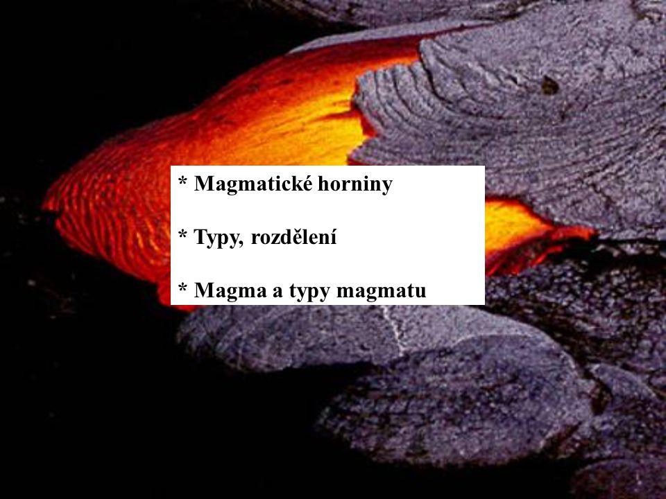 * Magmatické horniny * Typy, rozdělení * Magma a typy magmatu