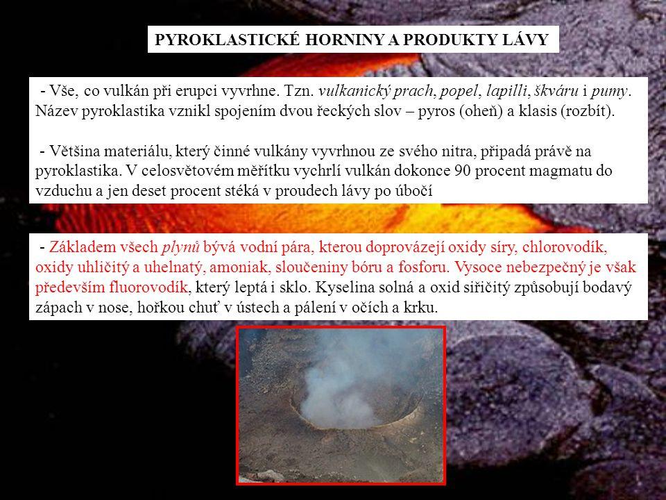 PYROKLASTICKÉ HORNINY A PRODUKTY LÁVY - Vše, co vulkán při erupci vyvrhne. Tzn. vulkanický prach, popel, lapilli, škváru i pumy. Název pyroklastika vz