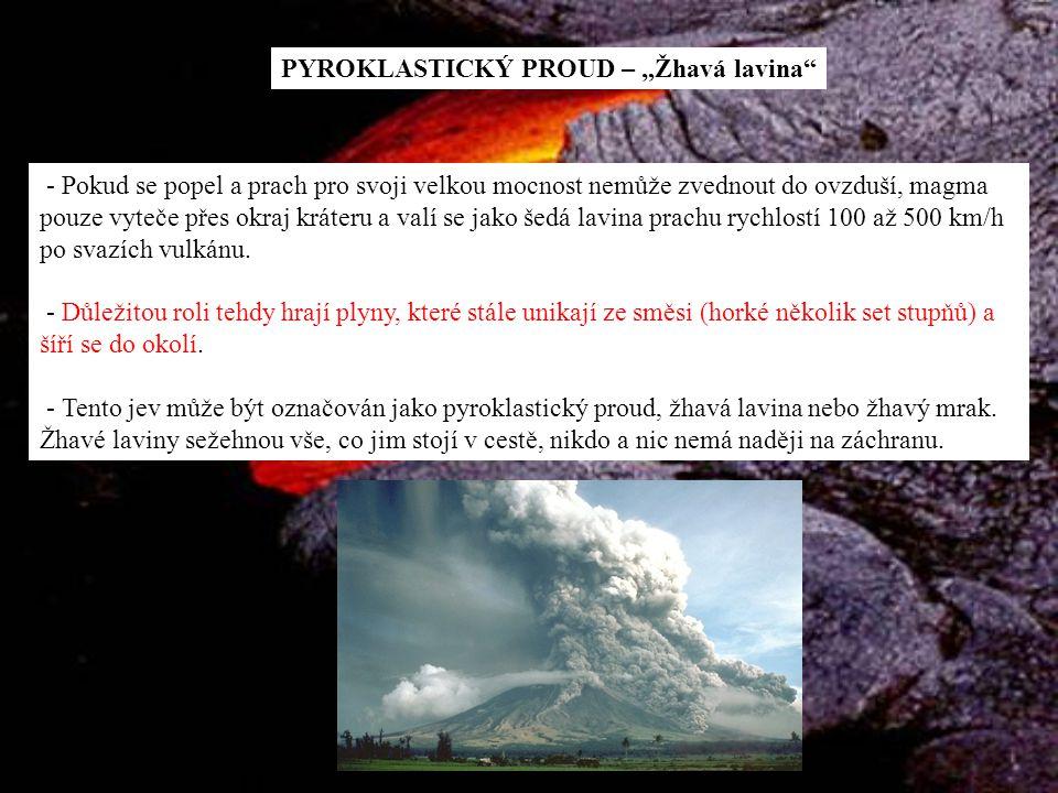 """PYROKLASTICKÝ PROUD – """"Žhavá lavina"""" - Pokud se popel a prach pro svoji velkou mocnost nemůže zvednout do ovzduší, magma pouze vyteče přes okraj kráte"""