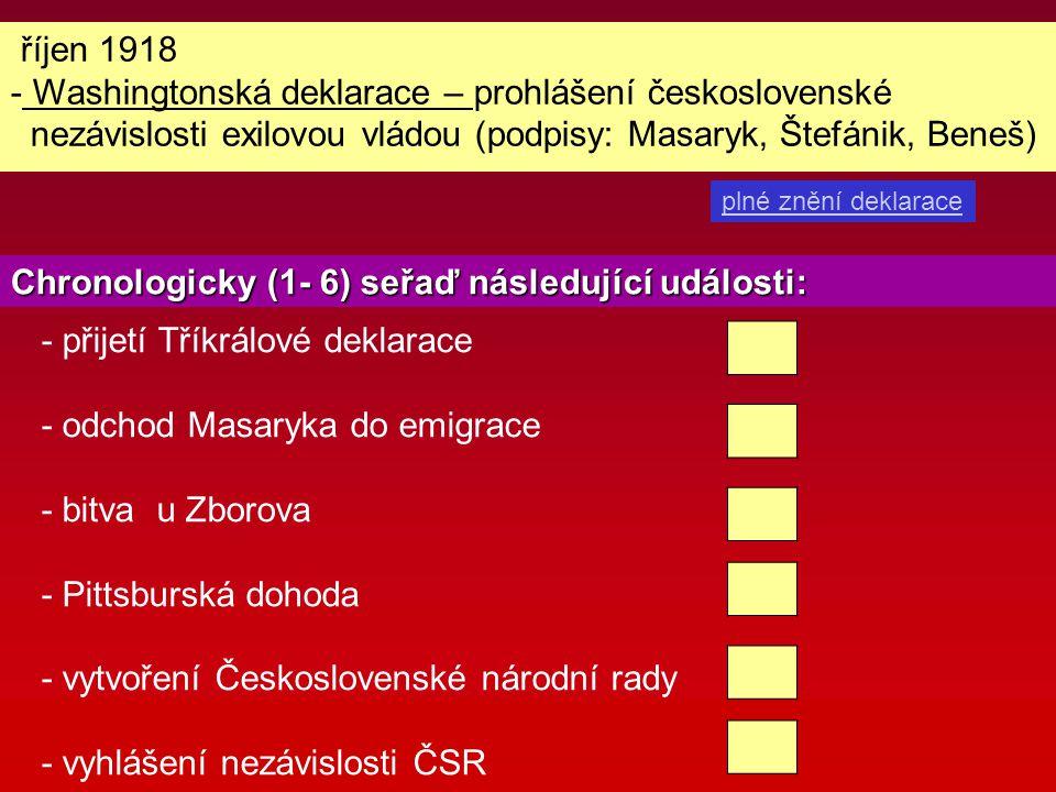 říjen 1918 - Washingtonská deklarace – prohlášení československé nezávislosti exilovou vládou (podpisy: Masaryk, Štefánik, Beneš) plné znění deklarace
