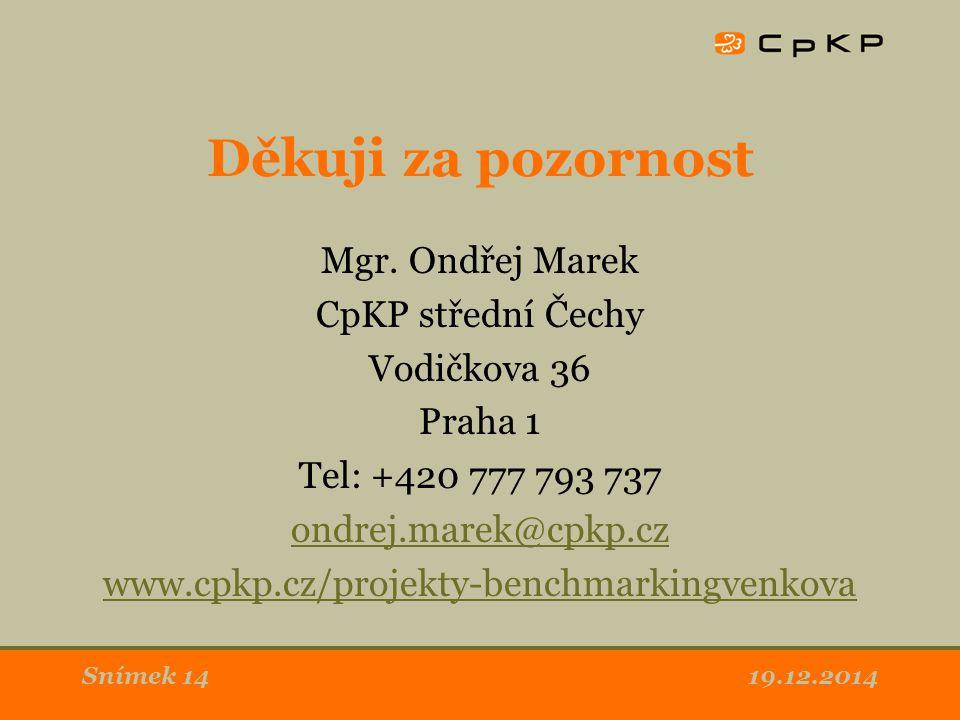Děkuji za pozornost Mgr. Ondřej Marek CpKP střední Čechy Vodičkova 36 Praha 1 Tel: +420 777 793 737 ondrej.marek@cpkp.cz www.cpkp.cz/projekty-benchmar