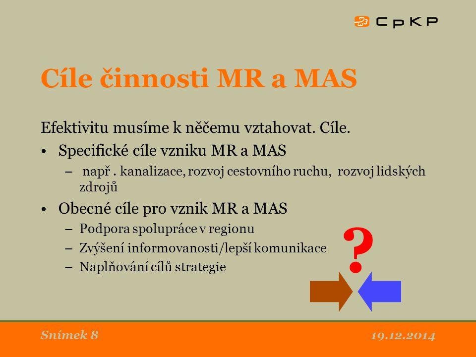 Cíle činnosti MR a MAS Efektivitu musíme k něčemu vztahovat. Cíle. Specifické cíle vzniku MR a MAS – např. kanalizace, rozvoj cestovního ruchu, rozvoj