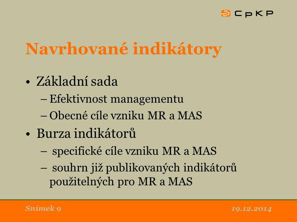 Navrhované indikátory Základní sada –Efektivnost managementu –Obecné cíle vzniku MR a MAS Burza indikátorů – specifické cíle vzniku MR a MAS – souhrn již publikovaných indikátorů použitelných pro MR a MAS 19.12.2014Snímek 9