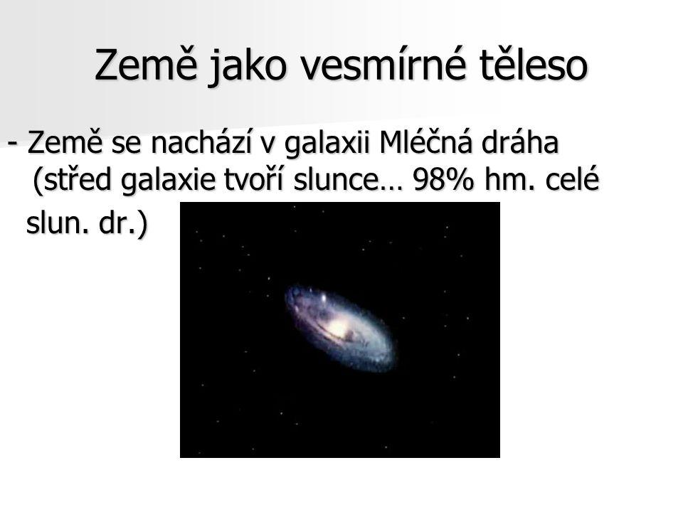 Země jako vesmírné těleso - Země se nachází v galaxii Mléčná dráha (střed galaxie tvoří slunce… 98% hm. celé slun. dr.) slun. dr.)