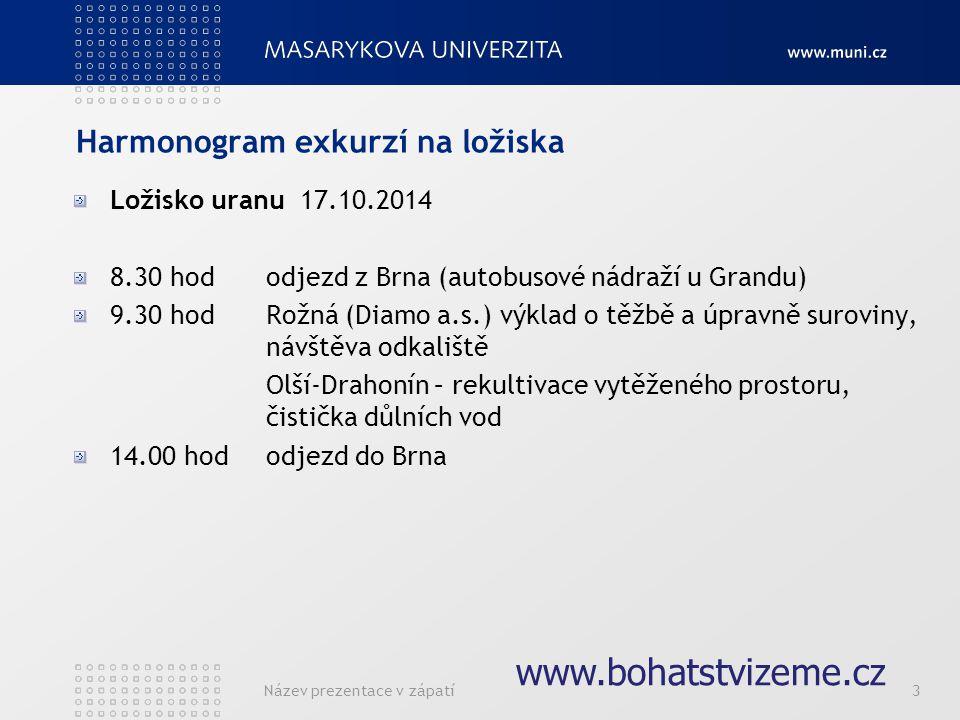Název prezentace v zápatí3 Harmonogram exkurzí na ložiska Ložisko uranu 17.10.2014 8.30 hododjezd z Brna (autobusové nádraží u Grandu) 9.30 hodRožná (Diamo a.s.) výklad o těžbě a úpravně suroviny, návštěva odkaliště Olší-Drahonín – rekultivace vytěženého prostoru, čistička důlních vod 14.00 hododjezd do Brna www.bohatstvizeme.cz