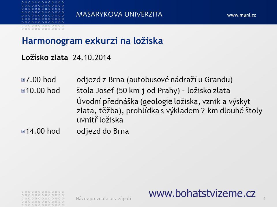 Název prezentace v zápatí4 Harmonogram exkurzí na ložiska Ložisko zlata 24.10.2014 7.00 hododjezd z Brna (autobusové nádraží u Grandu) 10.00 hodštola Josef (50 km j od Prahy) – ložisko zlata Úvodní přednáška (geologie ložiska, vznik a výskyt zlata, těžba), prohlídka s výkladem 2 km dlouhé štoly uvnitř ložiska 14.00 hododjezd do Brna www.bohatstvizeme.cz