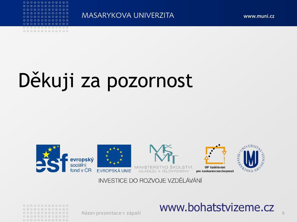 Název prezentace v zápatí6 Děkuji za pozornost www.bohatstvizeme.cz