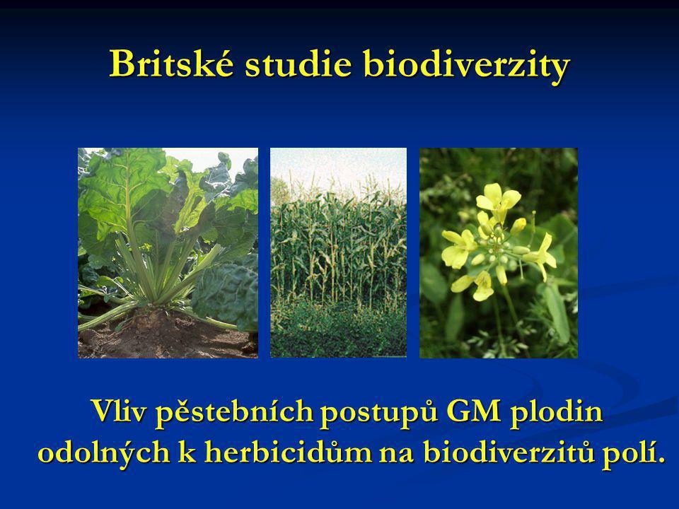 Britské studie biodiverzity Vliv pěstebních postupů GM plodin odolných k herbicidům na biodiverzitů polí.