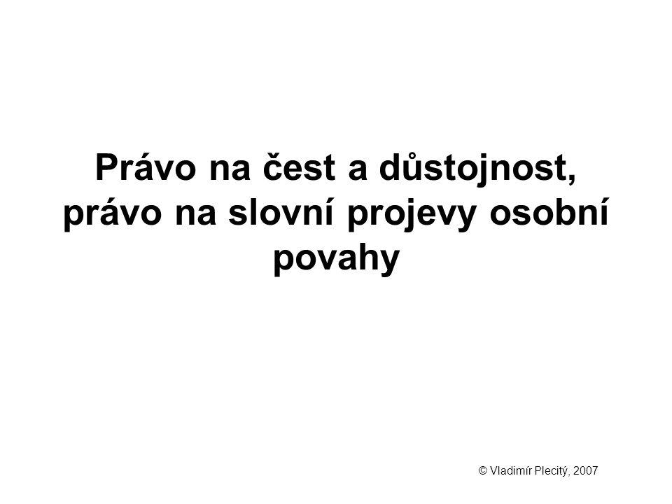 Právo na čest a důstojnost, právo na slovní projevy osobní povahy © Vladimír Plecitý, 2007