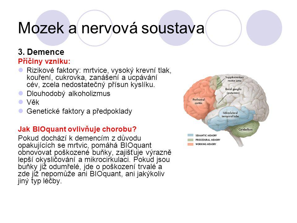 Mozek a nervová soustava 3. Demence Příčiny vzniku: Rizikové faktory: mrtvice, vysoký krevní tlak, kouření, cukrovka, zanášení a ucpávání cév, zcela n
