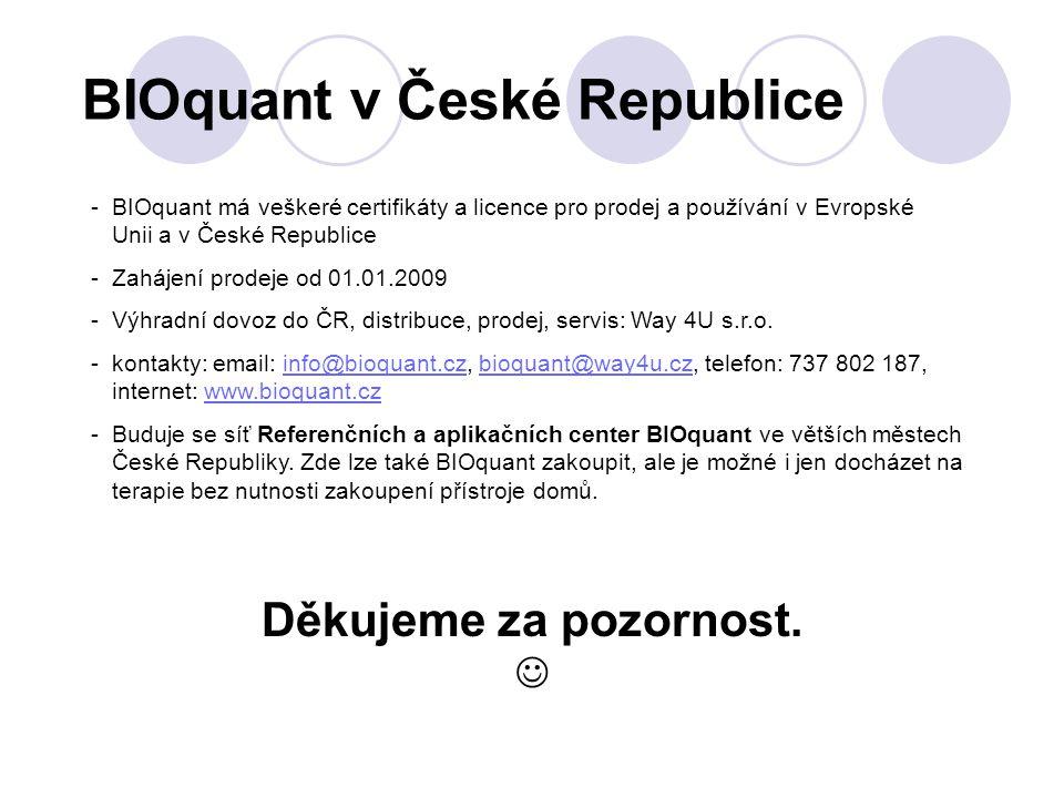 BIOquant v České Republice Děkujeme za pozornost. - BIOquant má veškeré certifikáty a licence pro prodej a používání v Evropské Unii a v České Republi
