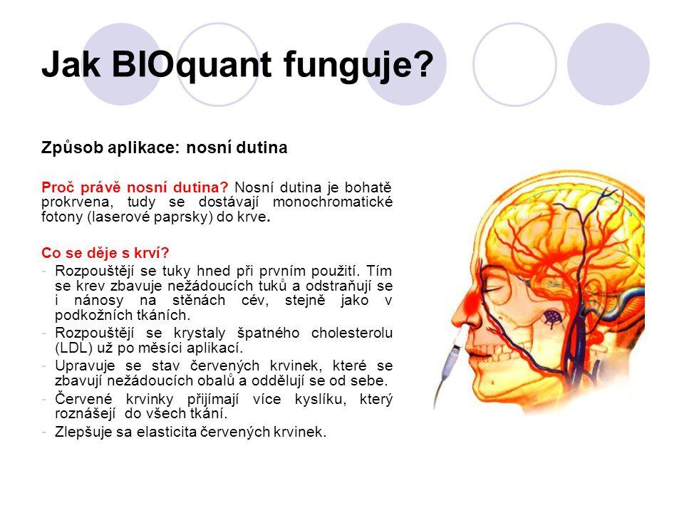 Jak BIOquant funguje? Způsob aplikace: nosní dutina Proč právě nosní dutina? Nosní dutina je bohatě prokrvena, tudy se dostávají monochromatické foton