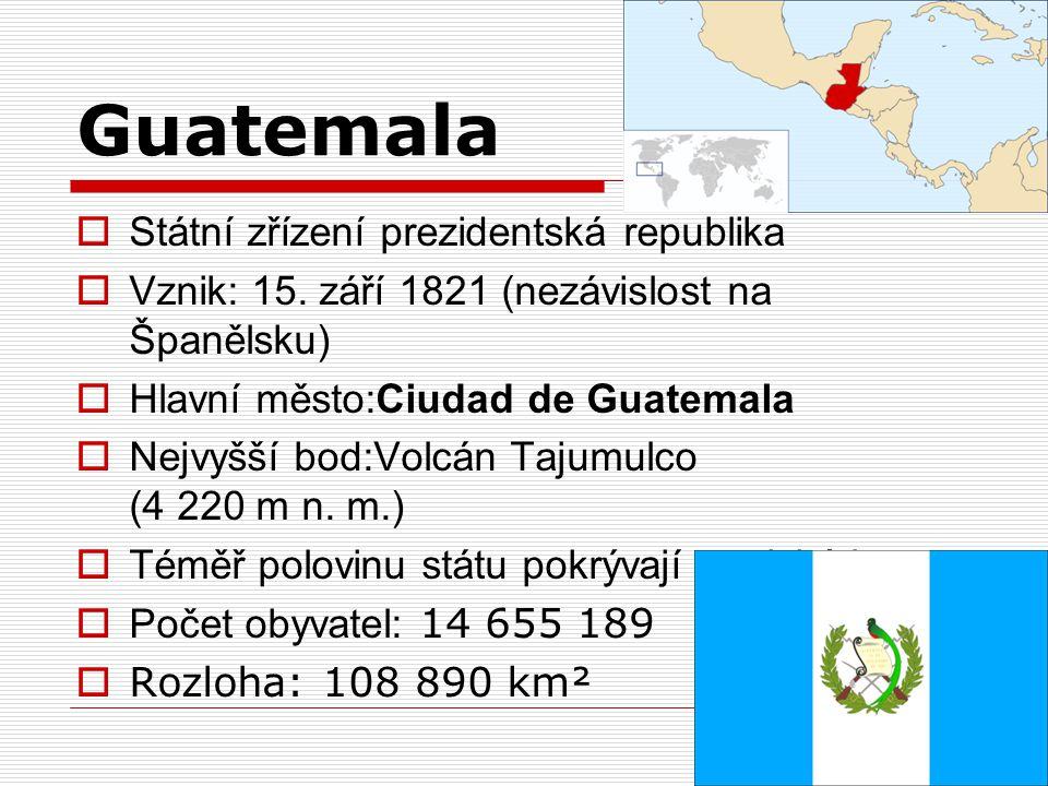 Guatemala  Státní zřízení prezidentská republika  Vznik: 15. září 1821 (nezávislost na Španělsku)  Hlavní město:Ciudad de Guatemala  Nejvyšší bod: