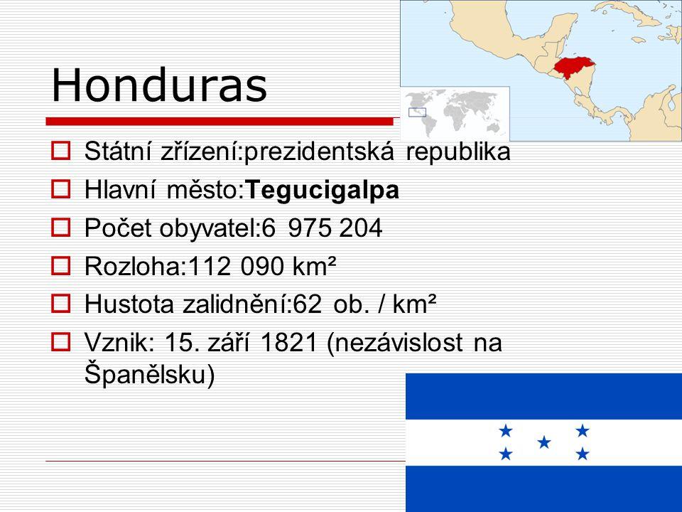 Honduras  Státní zřízení:prezidentská republika  Hlavní město:Tegucigalpa  Počet obyvatel:6 975 204  Rozloha:112 090 km²  Hustota zalidnění:62 ob