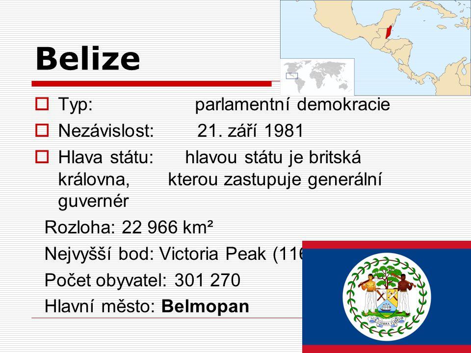 Belize  Typ: parlamentní demokracie  Nezávislost: 21. září 1981  Hlava státu: hlavou státu je britská královna, kterou zastupuje generální guvernér