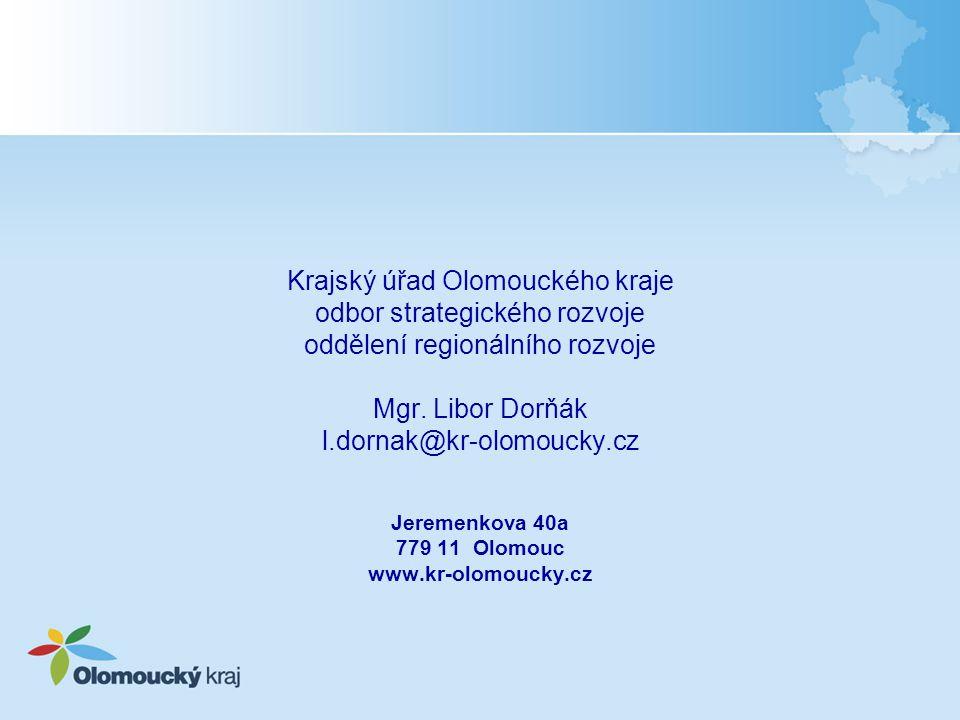 Krajský úřad Olomouckého kraje odbor strategického rozvoje oddělení regionálního rozvoje Mgr. Libor Dorňák l.dornak@kr-olomoucky.cz Jeremenkova 40a 77