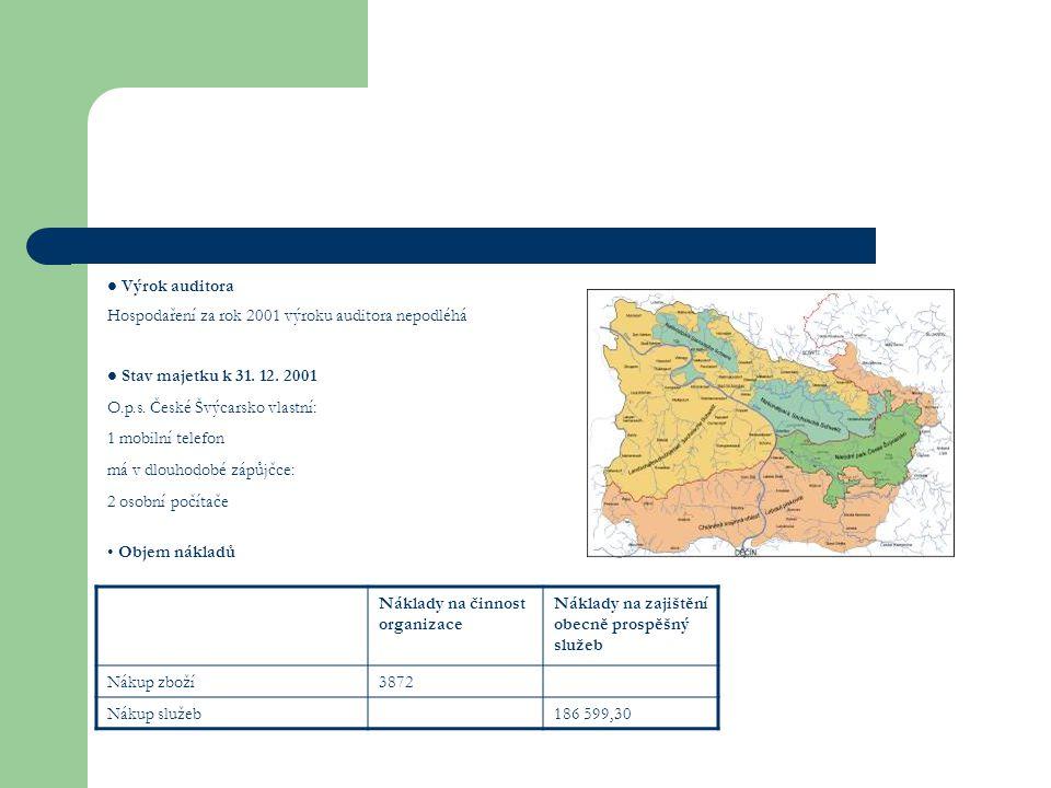 Náklady na činnost organizace Náklady na zajištění obecně prospěšný služeb Nákup zboží3872 Nákup služeb186 599,30 Stav majetku k 31.