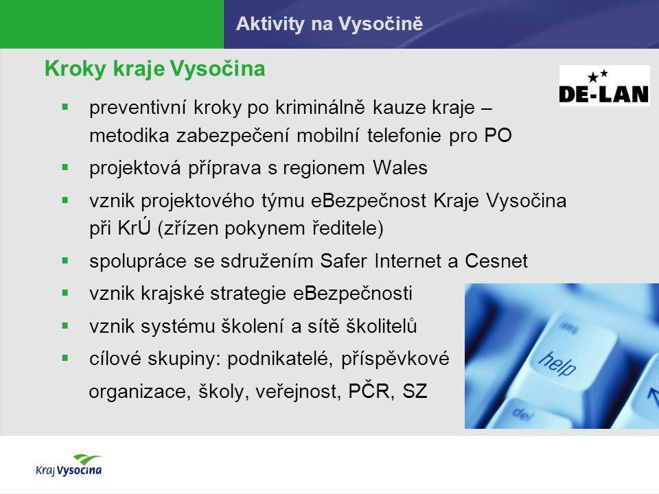 Aktivity na Vysočině Kroky kraje Vysočina  preventivní kroky po kriminálně kauze kraje – metodika zabezpečení mobilní telefonie pro PO  projektová p