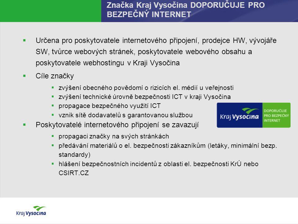 Značka Kraj Vysočina DOPORUČUJE PRO BEZPEČNÝ INTERNET  Určena pro poskytovatele internetového připojení, prodejce HW, vývojáře SW, tvůrce webových st