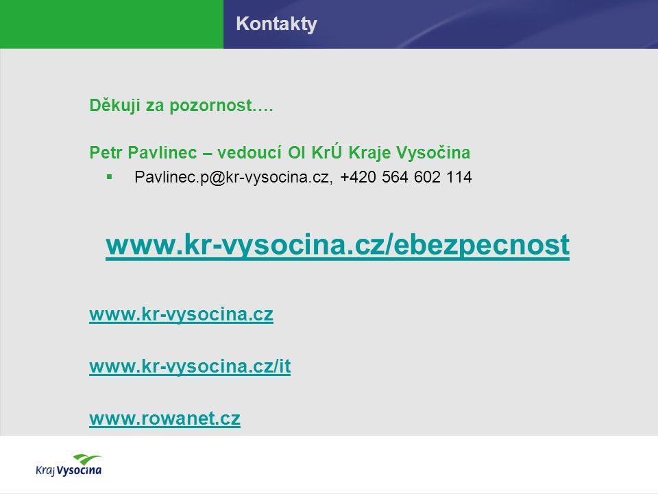 Kontakty Děkuji za pozornost…. Petr Pavlinec – vedoucí OI KrÚ Kraje Vysočina  Pavlinec.p@kr-vysocina.cz, +420 564 602 114 www.kr-vysocina.cz/ebezpecn