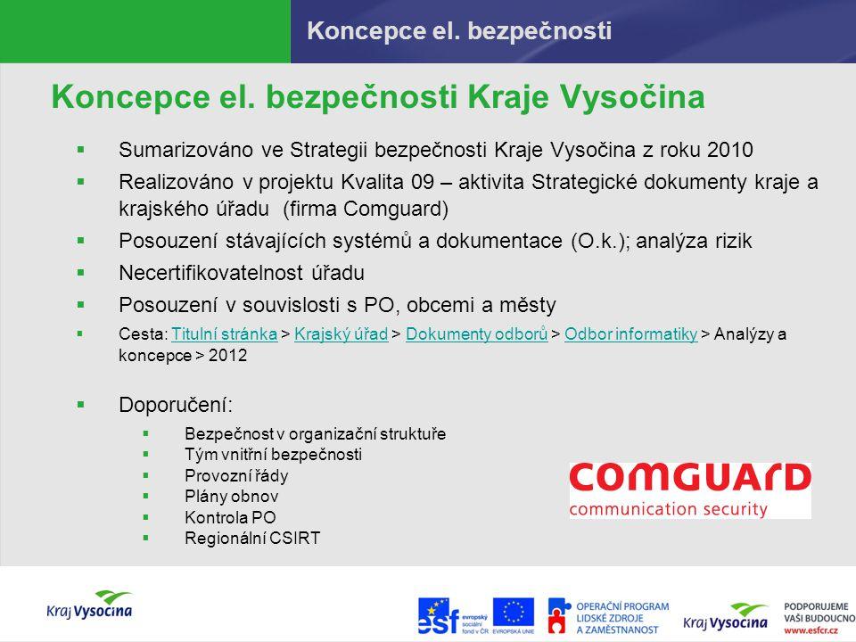Koncepce el. bezpečnosti Koncepce el. bezpečnosti Kraje Vysočina  Sumarizováno ve Strategii bezpečnosti Kraje Vysočina z roku 2010  Realizováno v pr