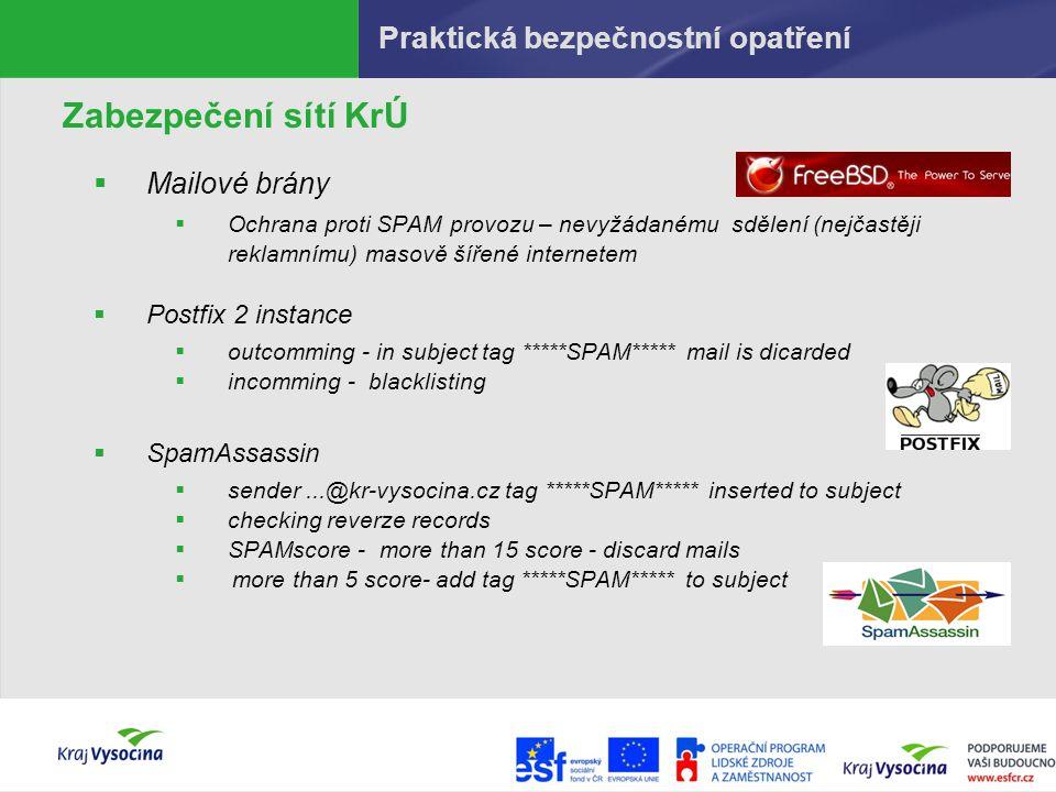 Praktická bezpečnostní opatření Zabezpečení sítí KrÚ  Mailové brány  Ochrana proti SPAM provozu – nevyžádanému sdělení (nejčastěji reklamnímu) masov