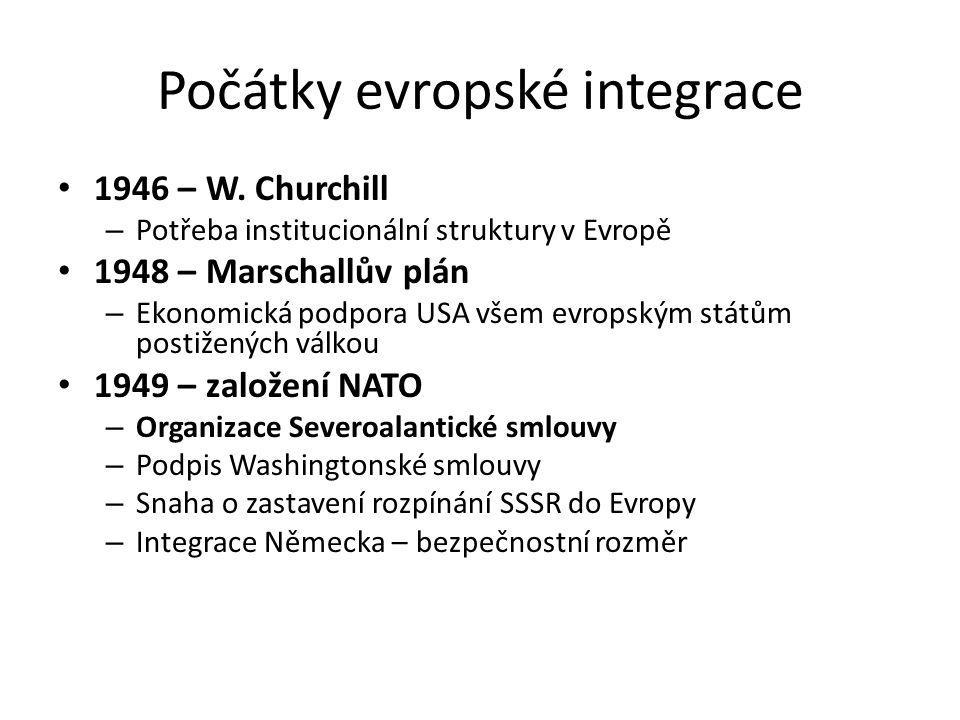 Počátky evropské integrace 1946 – W. Churchill – Potřeba institucionální struktury v Evropě 1948 – Marschallův plán – Ekonomická podpora USA všem evro