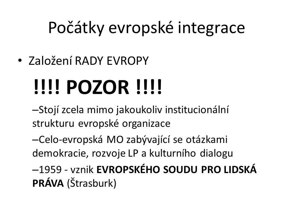 Počátky evropské integrace Založení RADY EVROPY !!!! POZOR !!!! – Stojí zcela mimo jakoukoliv institucionální strukturu evropské organizace – Celo-evr