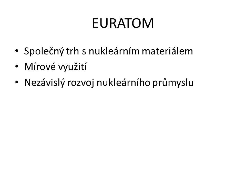 EURATOM Společný trh s nukleárním materiálem Mírové využití Nezávislý rozvoj nukleárního průmyslu