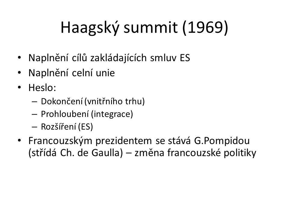 Haagský summit (1969) Naplnění cílů zakládajících smluv ES Naplnění celní unie Heslo: – Dokončení (vnitřního trhu) – Prohloubení (integrace) – Rozšíře