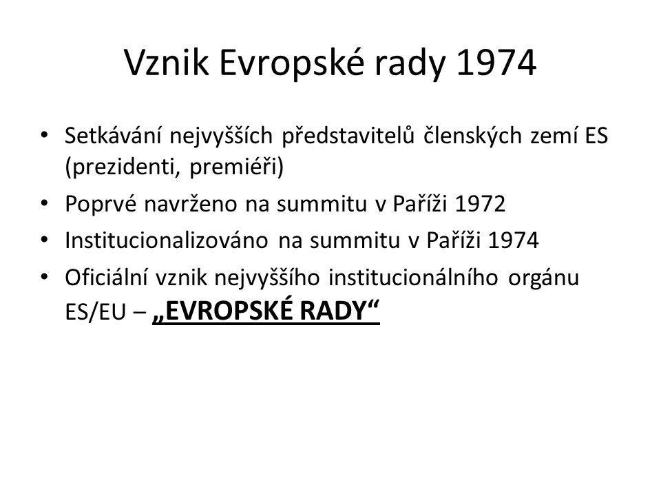 Vznik Evropské rady 1974 Setkávání nejvyšších představitelů členských zemí ES (prezidenti, premiéři) Poprvé navrženo na summitu v Paříži 1972 Instituc